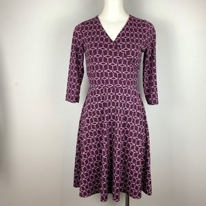 41 Hawthorn Dress Purple Renesme Geo Cube Print S